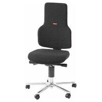 Swivel work chair ESD, fabric padding, with castors, low
