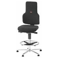 Swivel work chair ESD, fabric padding, with glides and footrest ring, high