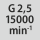 Wuchtgüte G bei Drehzahl G 2,5 bei 15000 min<sup>-1</sup>