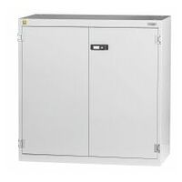 ESD cabinet with shelves with plain sheet metal swing doors.