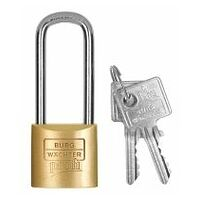 Precision cylinder lock with tall shackle shared keys