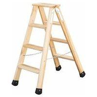 Stufen-Stehleiter Holz, beidseitig begehbar, mögliche Stufenanzahl 2×4 – 2×6