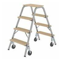 Stahl-Holz-Tritt mit Bockrollen 2x4 Stufen
