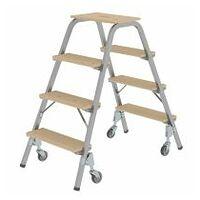 Stahl-Holz-Tritt mit Lenkrollen 2x4 Stufen