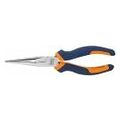 Snipe nose pliers, straight, chrome-plated, with grips  200 mm