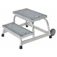 Treppen-Podest mit Stahl-Gitterrost, fahrbar, mögliche Treppenanzahl 2 – 5