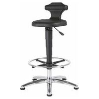 Sitting-standing stool – ESD, PU foam, with glides and footrest ring