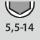 Nøgleviddeområde, sekskantet topnøgle 5,5-14