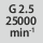 Balance quality G at rotational speed G 2.5 at 25,000 rpm