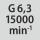 Balansavimo kokybė G, kai sūkių skaičius G 6,3, kai 15000 min<sup>-1</sup>