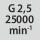 Kakovost centriranja G pri številu vrtljajev G 2,5 pri 25000 min<sup>-1</sup>