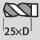 Profundidad de taladrado hasta 25×D