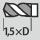 Profundidad de taladrado hasta 1,5×D