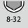 Intervalo de ancho de llave de vaso hexagonal 8-32