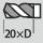 Profundidad de taladrado hasta 20×D