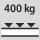 Capacidad de carga por estante / carga máxima distribuida por la superficie del estante (sobre metal) 400