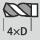 Profundidad de taladrado hasta 4×D
