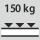 Capacidad de carga por estante / carga máxima distribuida por la superficie del estante (sobre metal) 150