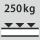 Capacidad de carga por estante / carga máxima distribuida por la superficie del estante (sobre metal) 250