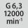 Calidad de equilibrado G con número de revoluciones G 6,3 en 12000 rpm