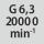Calidad de equilibrado G con número de revoluciones G 6,3 en 20000 rpm